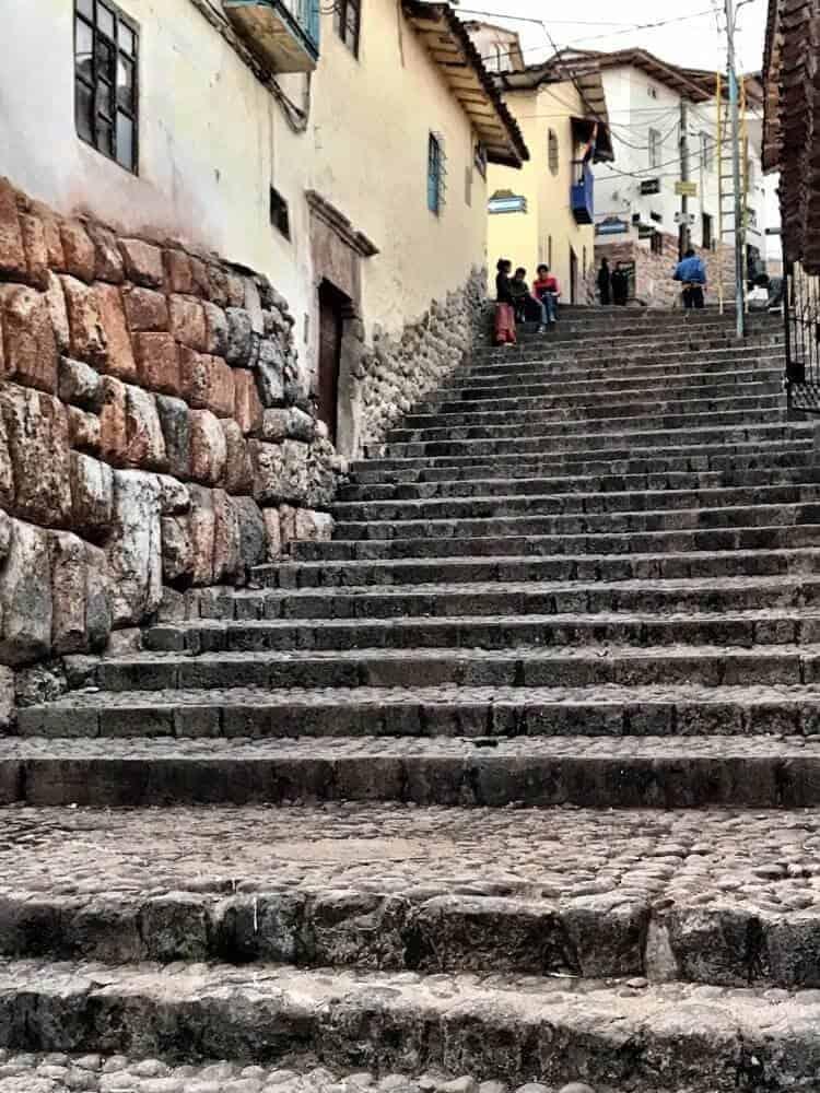 Steep cobblestone steps in Cuzco near our hostel.