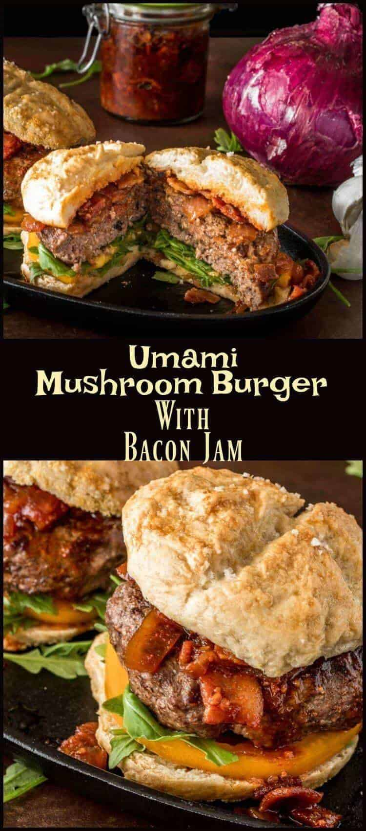 Umami Mushroom Burgers with Bacon Jam pinterest - Umami Mushroom Burger with Bacon Jam certainly is! This lean umami-rich burger patty pairs perfectly with the slightly sweet, smoky, tangy flavor of the bacon jam. Make a big batch, and use the leftovers on another batch of burgers, on breakfast biscuits, or just eat it with a spoon! burgers | mushroom burgers | blended burger project | bacon jam
