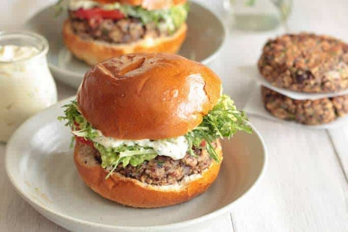 Black Bean Shiitake Burgers with Hatch Chile Mayonnaise