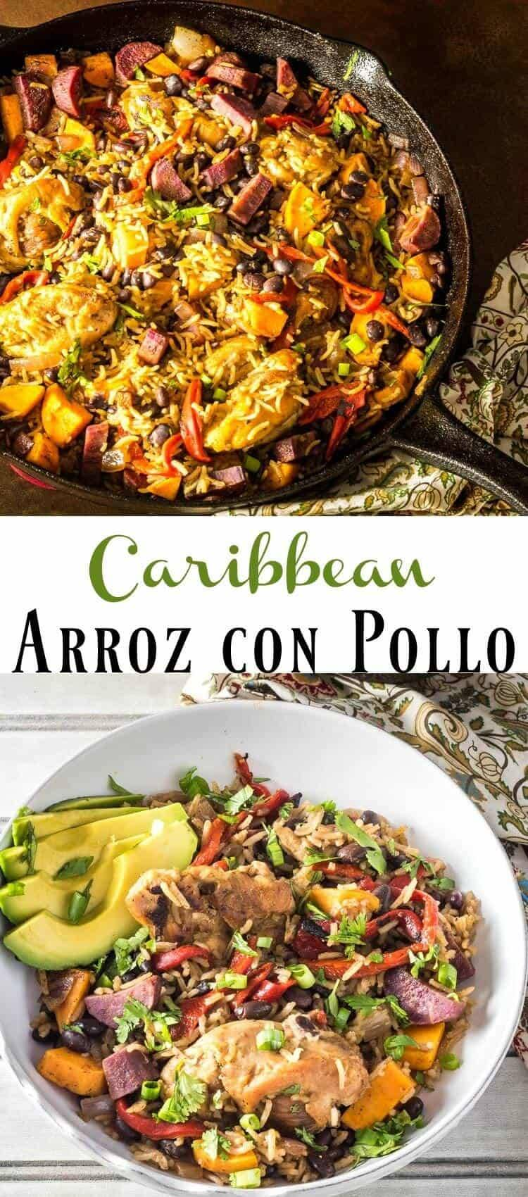 "Caribbean Arroz con Pollo Pinterest - Elevate your chicken and rice ""game"" with vibrant, Caribbean-inspired flavors... A simple one-pot meal, Carribean Arroz con Pollo gets its Caribbean kick from allspice, cumin, and red chile. With the addition of sweet potatoes and roasted red peppers, you'll have this beautiful and tasty dish on the table in about 30-40 minutes! Caribbean recipes 