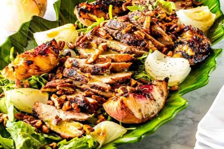 Arugula Salad with Grilled Pork and Peaches and Maple Bourbon Vinaigrette