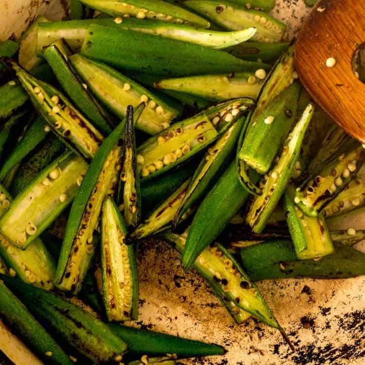 Healthy Cajun-Style Charred Okra and Shrimp Okra