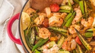 Healthy Cajun-Style Charred Okra and Shrimp