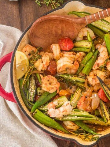 Healthy Cajun-Style Charred Okra and Shrimp Feature