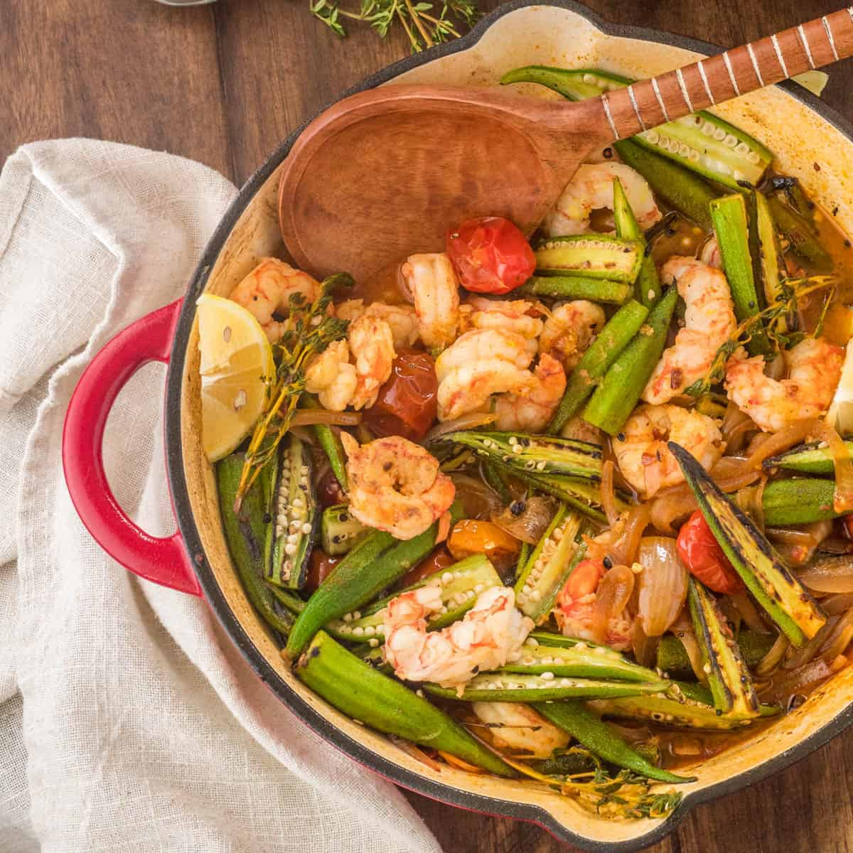 Healthy Cajun-Style Charred Okra And Shrimp • Beyond Mere
