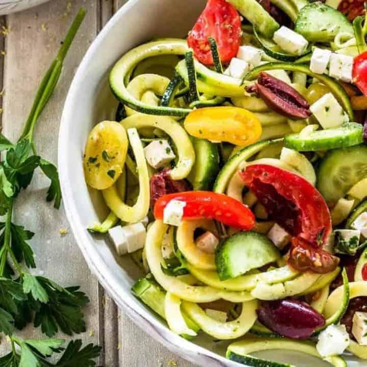 Greek Zoodle Salad Close Up