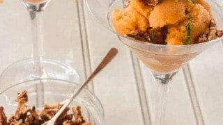 Grilled Peach Sorbet with Maple Syrup and Bourbon
