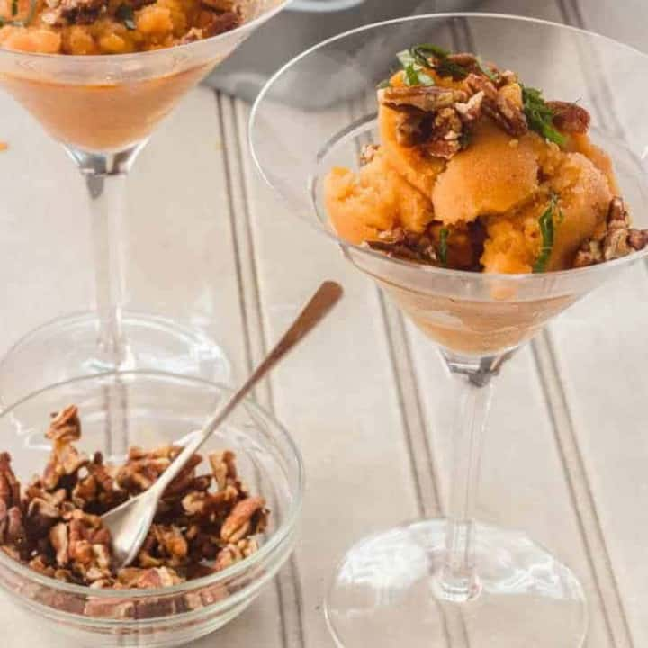 Grilled Peach Sorbet with Maple Syrup and Bourbon Feature