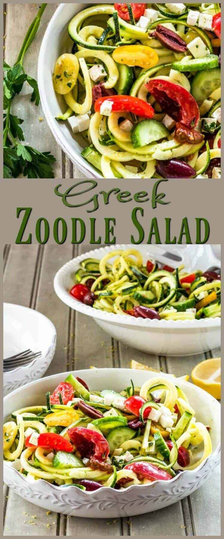Greek Zoodle Salad Pin - Greek Zoodle Salad has everything you love about a traditional Greek salad - salty feta cheese and kalamata olives, sweet tomatoes, crispy cucumbers, and tangy lemon dressing - all tossed with nutritious zucchini. Get that spiralizer off the shelf, and in 15 minutes you'll be enjoying this tasty Greek salad! #spiralizer #zoodlesalad #Greeksalad