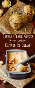 Double (Fresh) Ginger Pumpkin Custard Ice Cream - The best of pumpkin pie in a frozen custard, Double (Fresh) Ginger Pumpkin Custard Ice Cream will remind you of the best pumpkin pie you've ever had! A pumpkin custard base gets a flavor boost with fresh ginger paste, grated fresh nutmeg, cinnamon, allspice, and cloves. Garnished with candied ginger, this flavor bomb may become your favorite fall dessert! #pumpkinicecream #frozendesserts #icecreamrecipes