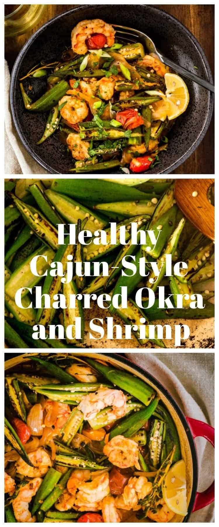 Healthy Cajun-Style Charred Okra and Shrimp Pin - The flavors of gumbo - thyme, paprika, cayenne, garlic - without the fat-laden roux. Ready in under half an hour, this one-pot dish is likely to become a new family favorite! #charredokra #healthygumbo #cajunspicemix #okraandshrimp