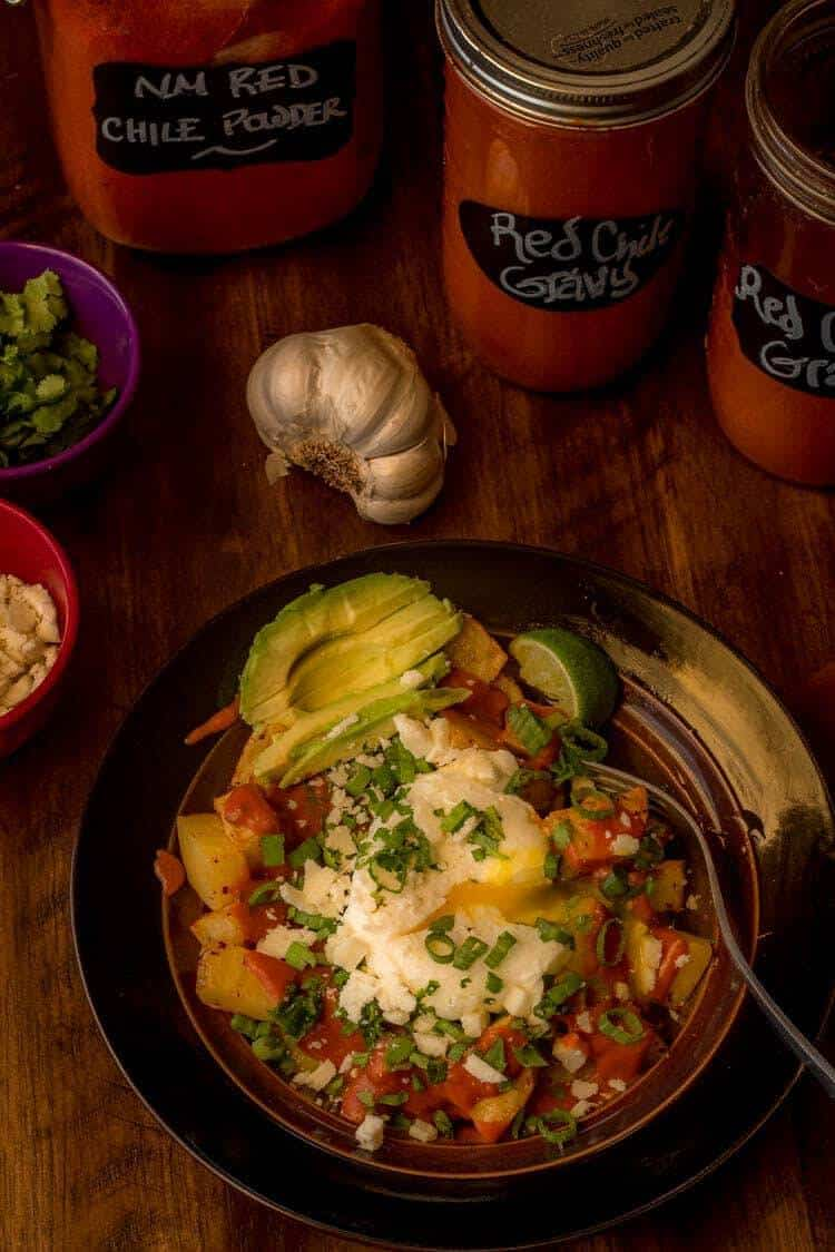 New Mexico Gluten-Free Red Chile Sauce on Roasted Potatoes