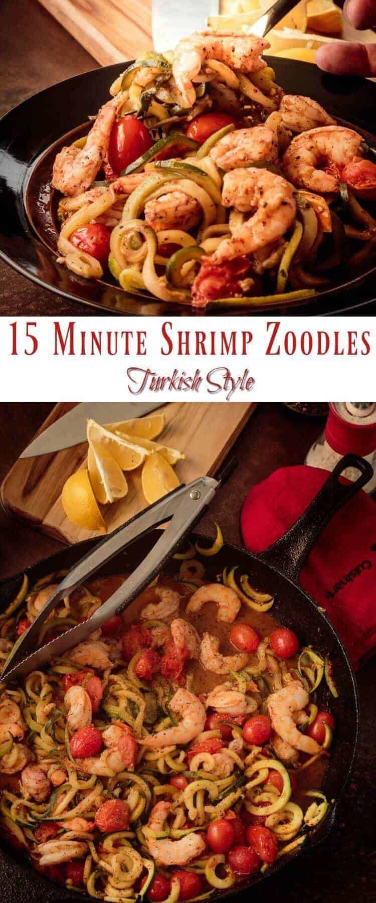 15 Minute Shrimp Zoodles Turkish Style Pin - Earthy aleppo pepper and sumac bring Turkish flavor notes to this healthy and lightening fast dish. 15 Minute Shrimp Zoodles Turkish Style is a perfect weeknight dinner with an exotic twist! #shrimpzoodles #spiralizerrecipes #zoodles #lowcarb #glutenfree #paleo #healthyweeknightdinner #Turkishcooking #aleppopepper