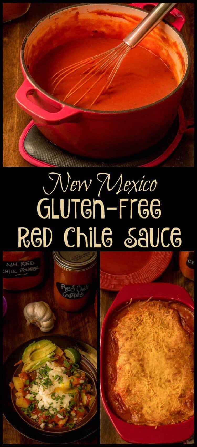 """New Mexico Gluten-Free Red Chile Sauce Pin -= All the intense, earthy, smoky flavor of """"regular"""" New Mexico red chile sauce awaits in my New Mexico Gluten-Free Red Chile Sauce... In fact, I'd wager you cannot tell the difference side by side! #BobsRedMill #glutenfreeflour #NMredchilesauce #redchilesauce #NMchile #redchileenchiladas"""