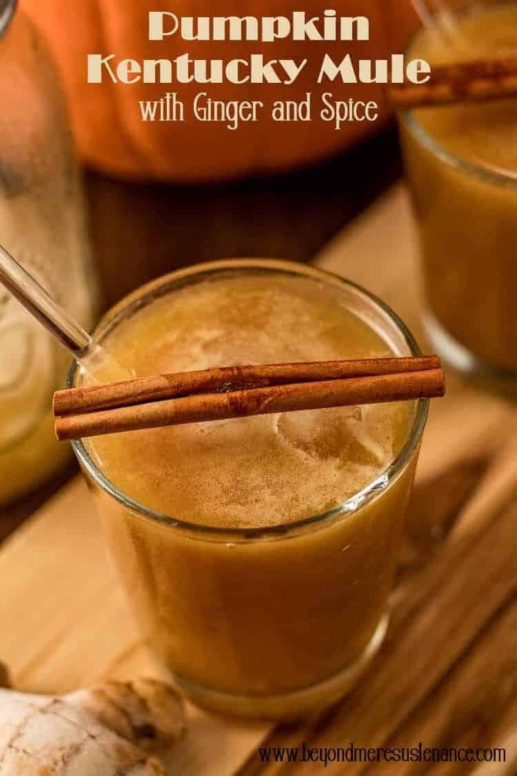 """A Pumpkin Kentucky Mule with Ginger and Spice is """"autumn in a glass""""... Pumpkin butter (homemade or purchased), bourbon, ginger beer, and cardamom bitters get garnished with a cinnamon stick and candied ginger. This simple cocktail may become your new fall favorite! #fallcocktails #pumpkincocktails #pumpkinmule #kentuckymule #bourboncocktails #fallbourboncocktails #pumpkinspicecocktail"""