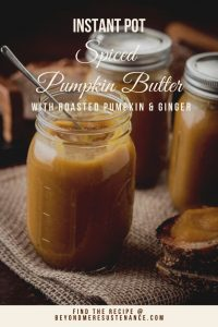 Instant Pot Spiced Pumpkin Butter (with Roasted Pumpkin) tickles your tongue with the traditional warm spices and a burst of flavor from the double-ginger duo of fresh minced ginger and ginger beer! This delightful, creamy vegan and gluten free pumpkin butter elevates a humble piece of toast, and makes a great addition to a fall cocktail... #glutenfreerecipes #veganpumpkinbutter #homemadepumpkinbutter #instantpotpumpkin butter #fallrecipes #freshpumpkinrecipes #roastedpumpkinrecipes