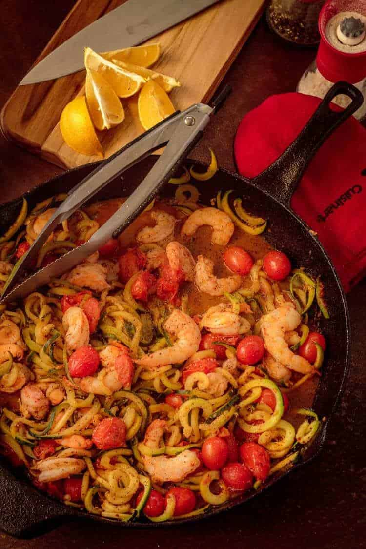15 Minute Shrimp Zoodles Turkish Style in a skillet.