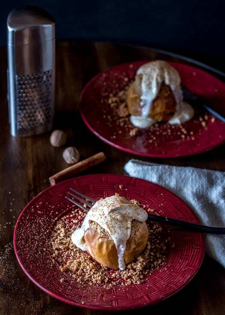 Streusel Baked Apples with Bourbon Vanilla Mascarpone Cream Hero Image