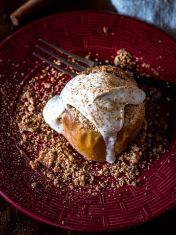 Streusel Baked Apples with Bourbon Vanilla Mascarpone Cream Feature Image