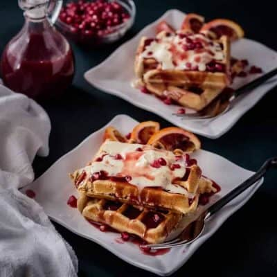 Festive Christmas Waffles with Pomegranate-Blood Orange Syrup