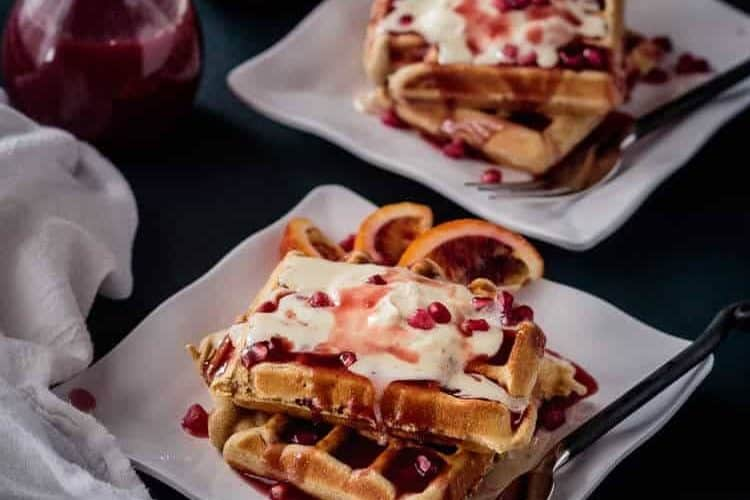 Festive Christmas Waffles with Pomegranate-Blood Orange Syrup