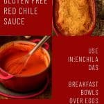 A collage of photos for gluten free NM red chile sauce on a red background.