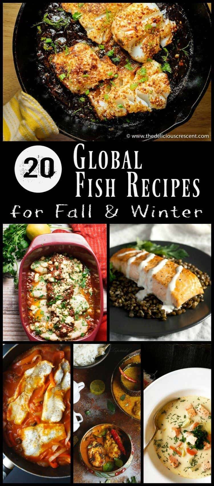 20 Global Fish Recipes Pin - Whether you're looking to lighten up your diet or just love fish, I've got 20 Global Fish Recipes right here that are sure to provide lots of inspiration and delicious meals around the table with loved ones! #globalfishrecipes #internationalfishrecipes #healthyfishrecipes #fallfishrecipes #fishstew #pescatarianrecipes