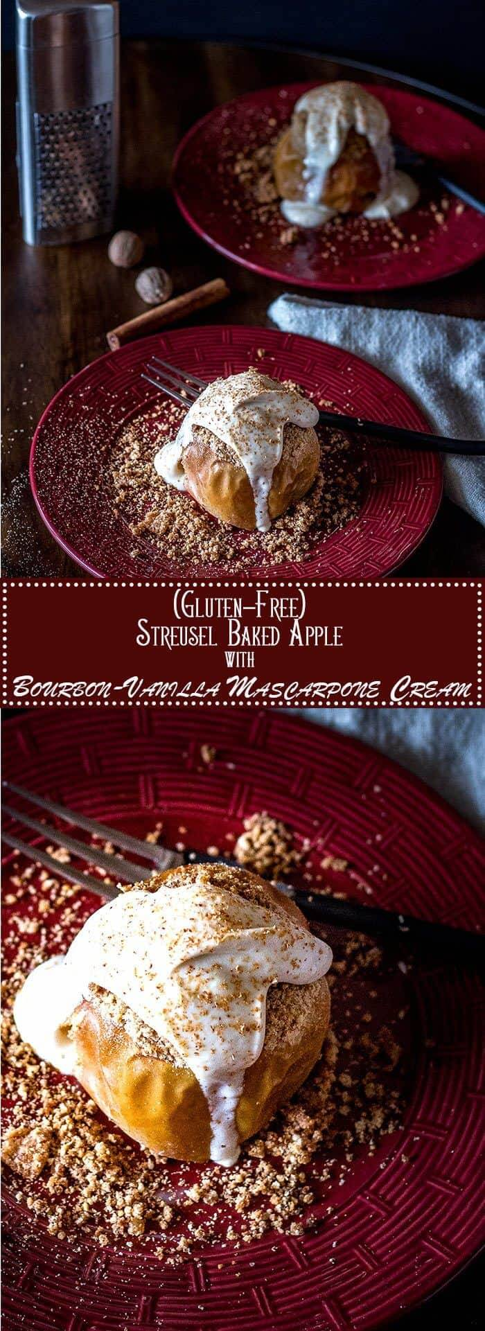Looking for a special holiday dessert for a smaller party? Streusel Baked apples with Bourbon Vanilla Mascarpone Cream tastes