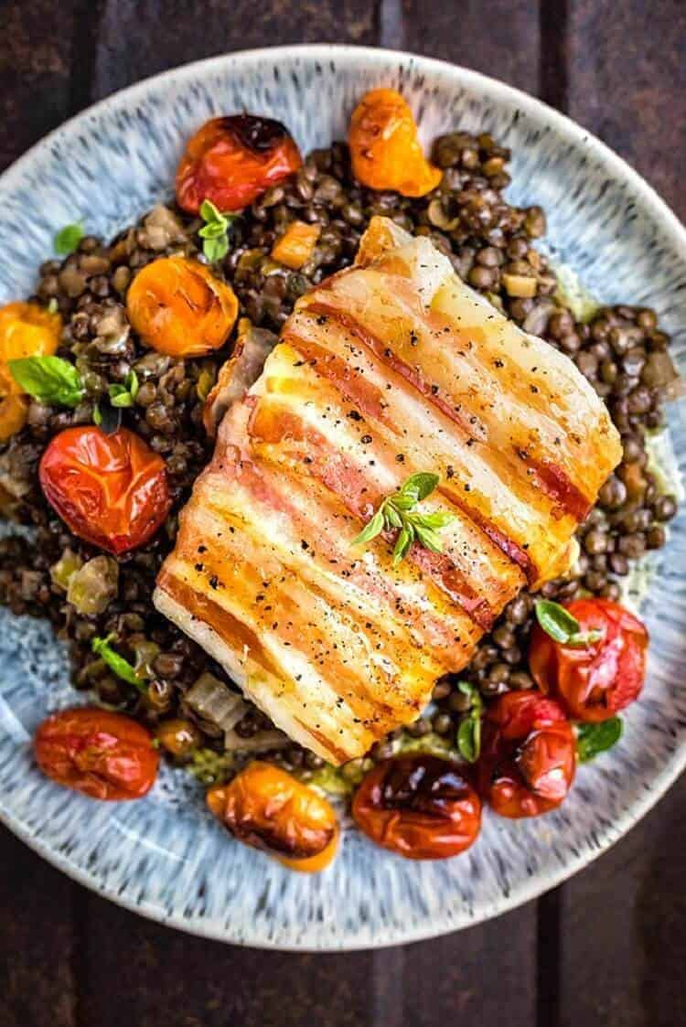 Pancetta Wrapped Cod with Lentils