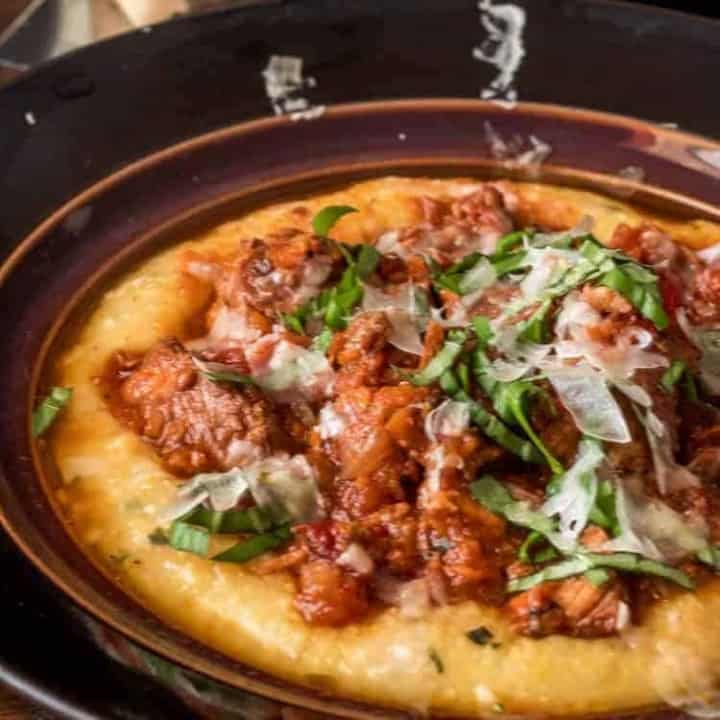 Instant Pot Pork Ragu with Basil Polenta