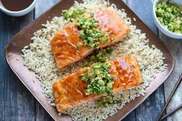 Red Miso Salmon with Ginger-Scallion Sauce