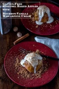 Streusel Baked Apples with Bourbon Vanilla Mascarpone Cream -