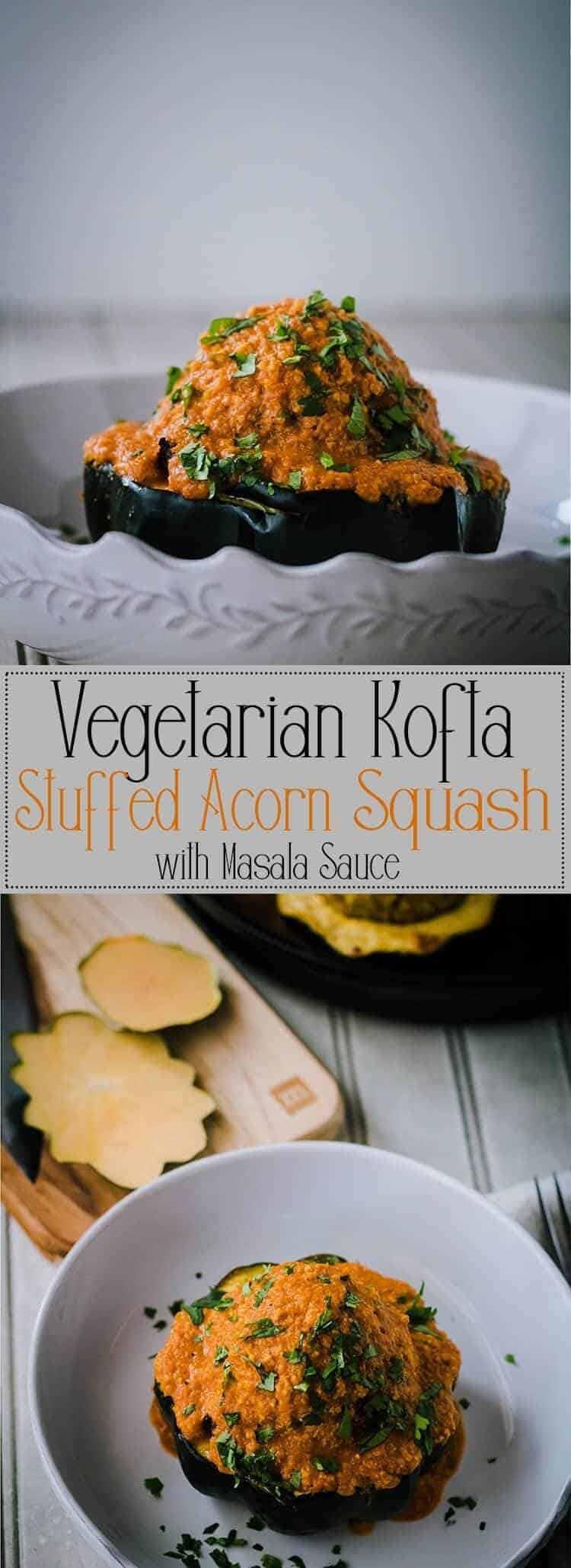 Not authentic, but definitely tasty, my Vegetarian Kofta Stuffed Acorn Squash with Masala Sauce brings Indian spices - chaat masala, cumin, turmeric, fresh ginger, and cilantro - to a pumpkin, chick pea, poha based