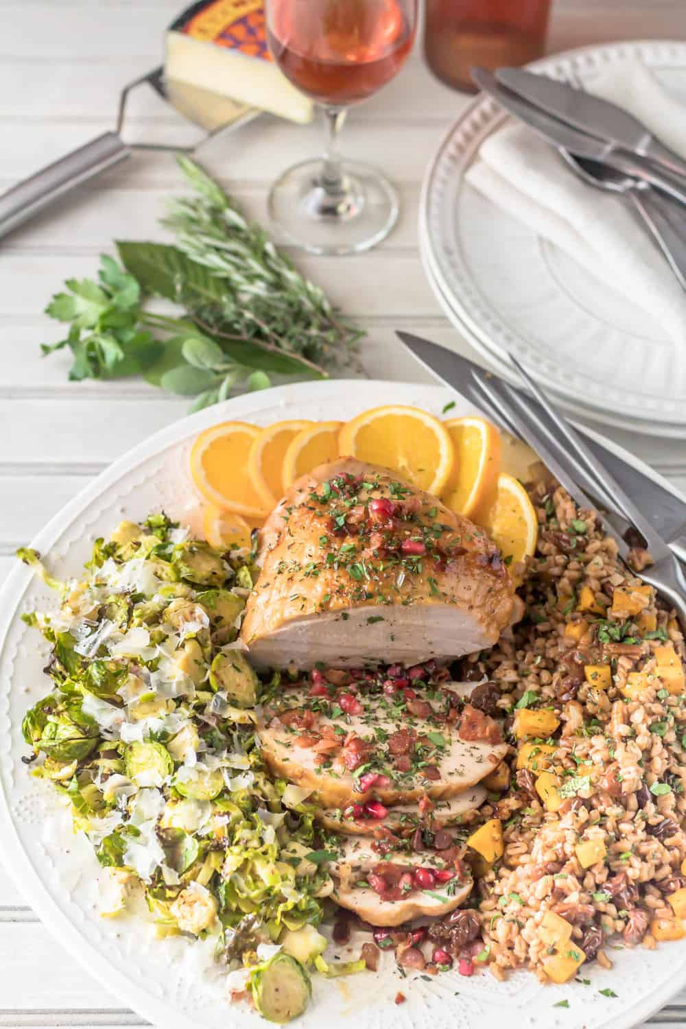 A Cozy Thanksgiving Dinner For Two Platter with Herb and Citrus Brined Turkey Breast