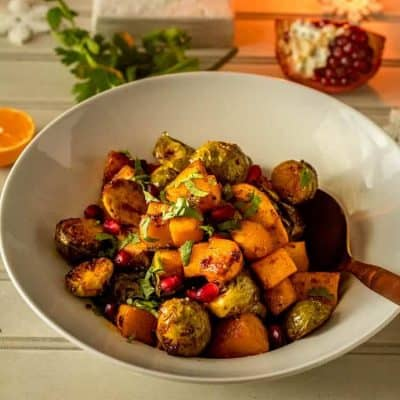 Roasted Spicy Orange-Pomegranate Glazed Winter Vegetables