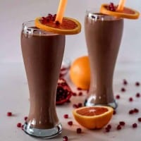 Best Ever Chocolate Meal Replacement Smoothie with Orange and Pomegranate
