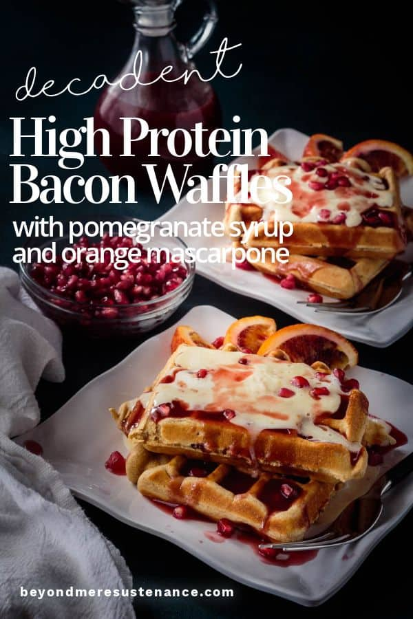 2 square white plates with Belgian bacon waffles with mascarpone and pomegranate syrup.