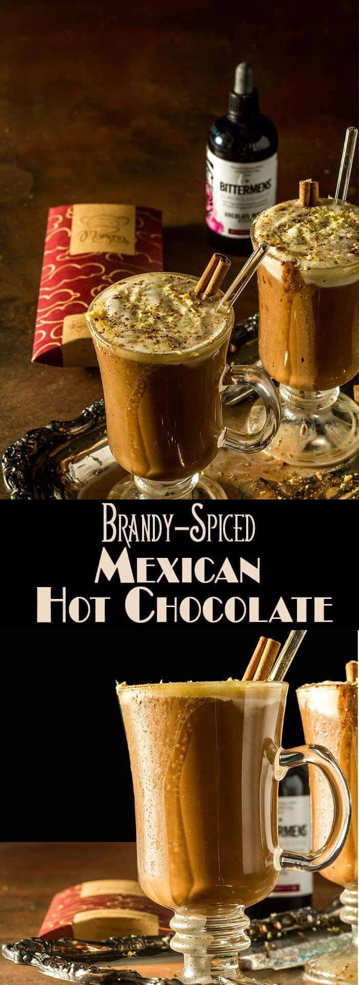 Luxurious dark chocolate, cinnamon, and a bit of heat make this Brandy-Spiked Mexican Hot Chocolate a decadent treat perfect on a winter's night in front of a roaring fire! #cocktails #mixology #adulthotchocolate #spikedhotchocolate #wintercocktails #Christmascocktails #Bittermens #Mozna #VirtualCookieExchange