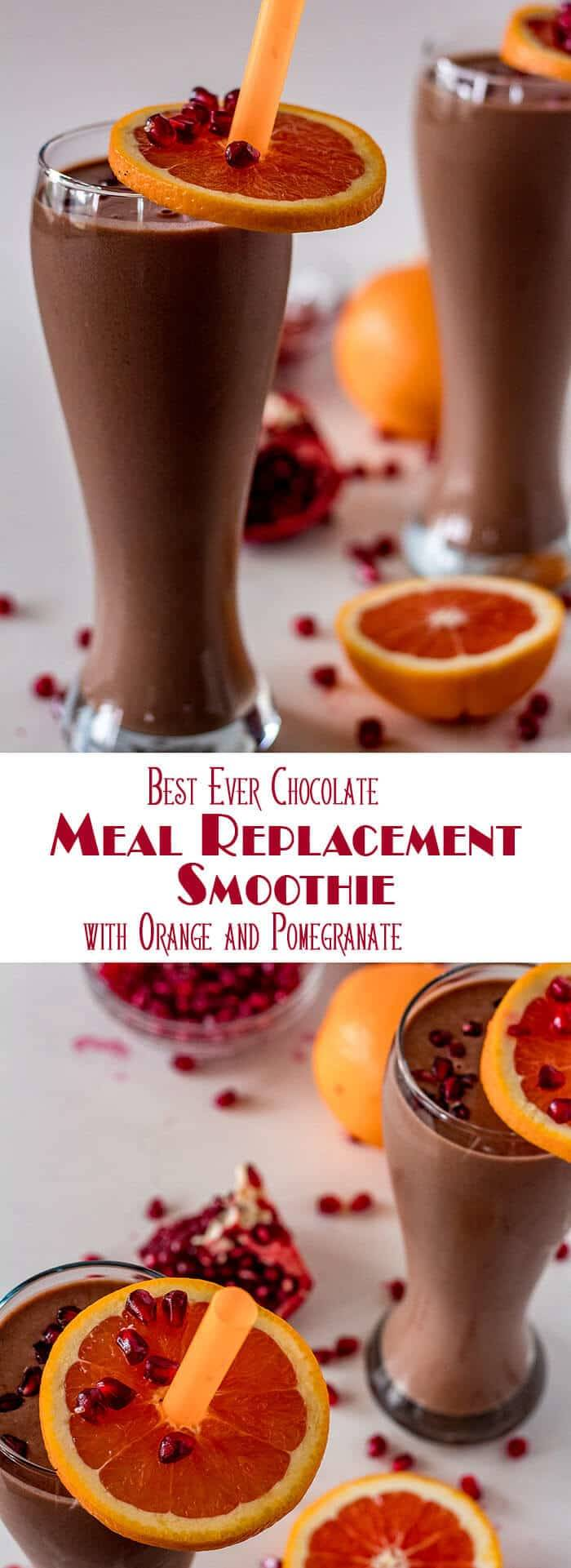 A chocolate, orange, and pomegranate smoothie that tastes more like a milk shake than a workout recovery drink? Yes! This Best Ever Chocolate Meal Replacement Smoothie comes in at 33 grams of protein per serving, and 443 calories with the help of Bob's Red Mill Protein and Fiber Nutritional Booster... A tasty (and healthy) start to the New Year! #BobsRedMill #mealreplacementsmoothie #chocolatesmoothie #chocolateproteinshake