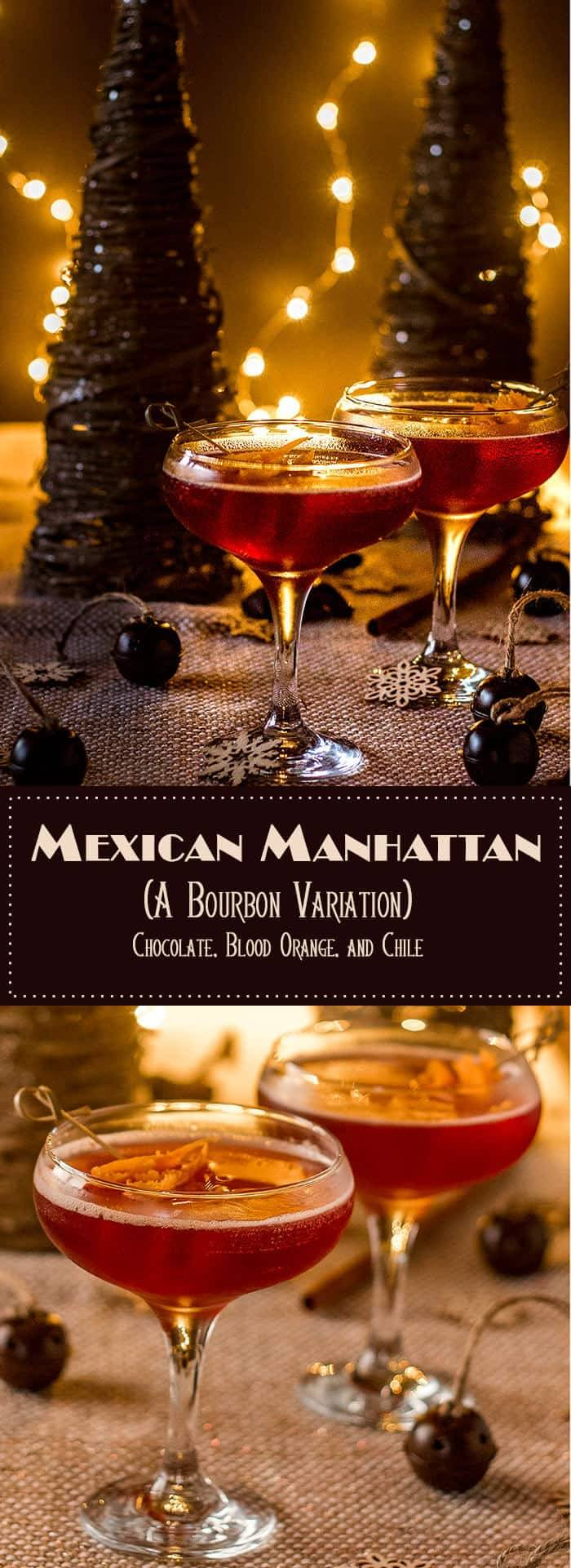 Mexican Manhattan - Blood orange liqueur, chocolate chile liqueur, and brandy get shaken and topped with mole bitters... A festive and zesty variation on the classic manhattan! #manhattanvariation #festivecocktail #Christmascocktail #cocktails #bourboncocktails