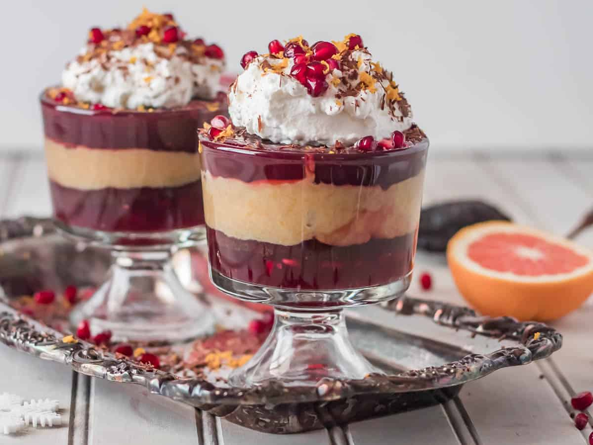Mexican Chocolate Trifle with Orange Curd and Pomegranate Pudding Distance Shot