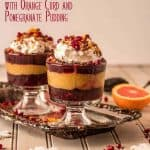 A hint of cinnamon and chipotle in a brownie provide the base for this indulgent Mexican Chocolate Trifle with Orange Curd and Pomegranate Pudding. The fresh orange curd gets a hint of cinnamon, and the pomegranate pudding with its pomegranate juice, pomegranate molasses, and pomegranate arils gets thickened with tapioca. The result is a festive, holiday trifle with vibrant and fresh Mexican flavor! Fantástico! #Mexicanchocolatetrifle #chocolateorangetrifle #chocolatepomegranatetrifle #orangepomegranatetrifle #holidaydesserts
