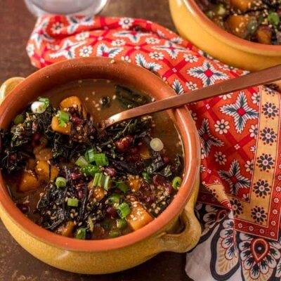 Instant Pot Adzuki Bean Soup with Miso, Winter Squash, and Kale