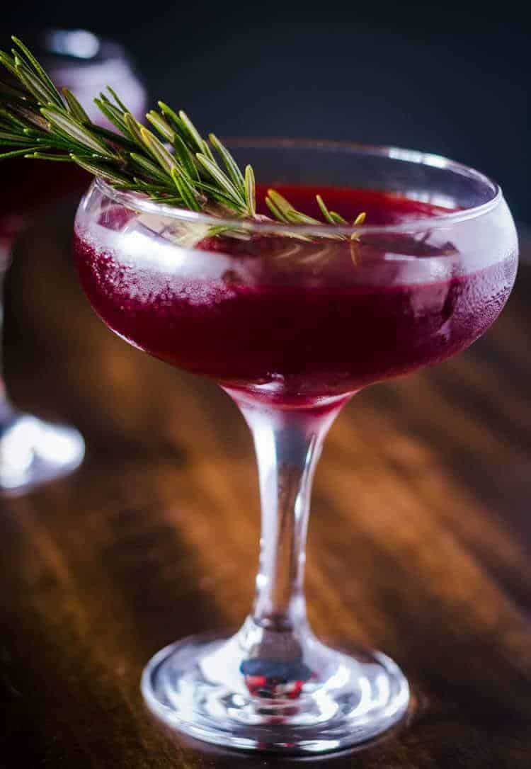 Savory Gin Cocktail with Cynar and Beet Juice Close Up