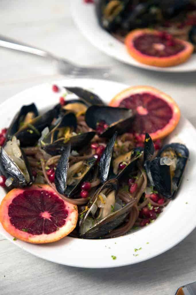 Blood-Orange-Mussels-with-Pomegranate-Lime-Linguine