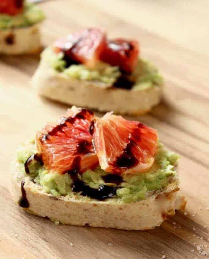 Blood Orange and Avocado Crostini