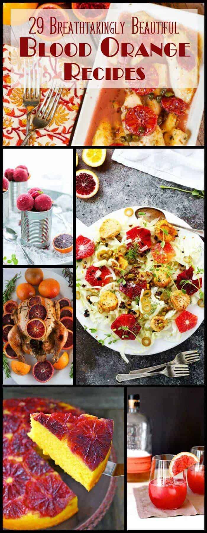 A collection of 29 Breathtakingly Beautiful Blood Orange Recipes that include savory main dishes, main and side salads, sweets, and cocktails. Blood oranges are so versatile, healthy, and delicious too! blood orange recipes / savory blood orange recipes / blood orange salads / blood orange cocktails / blood orange main dishes