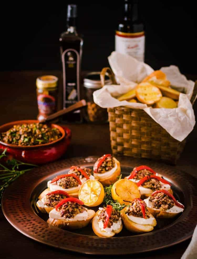 Mixed Olive Tapenade Crostini with Grilled Bread Hero Image