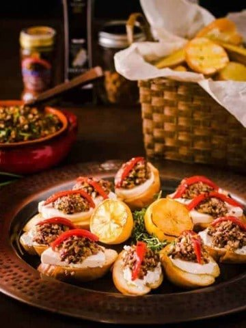 Mixed Olive Tapenade Crostini with Grilled Bread Feature