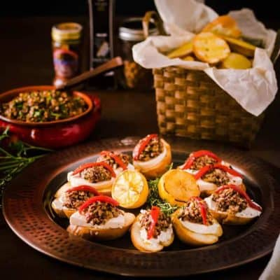 Mixed Olive Tapenade Crostini with Grilled Bread